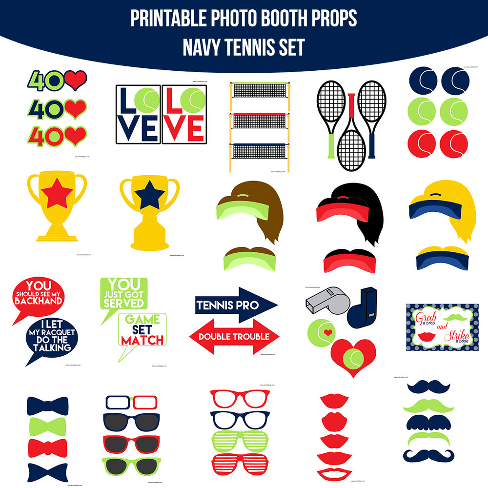 See the Set - To View The Whole Navy Tennis Printable Photo Booth Prop Set Click Here