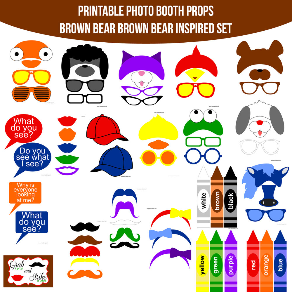 See the Set - To View The Whole Brown Bear Brown Bear What Do You See Inspired Printable Photo Booth Prop Set Click Here