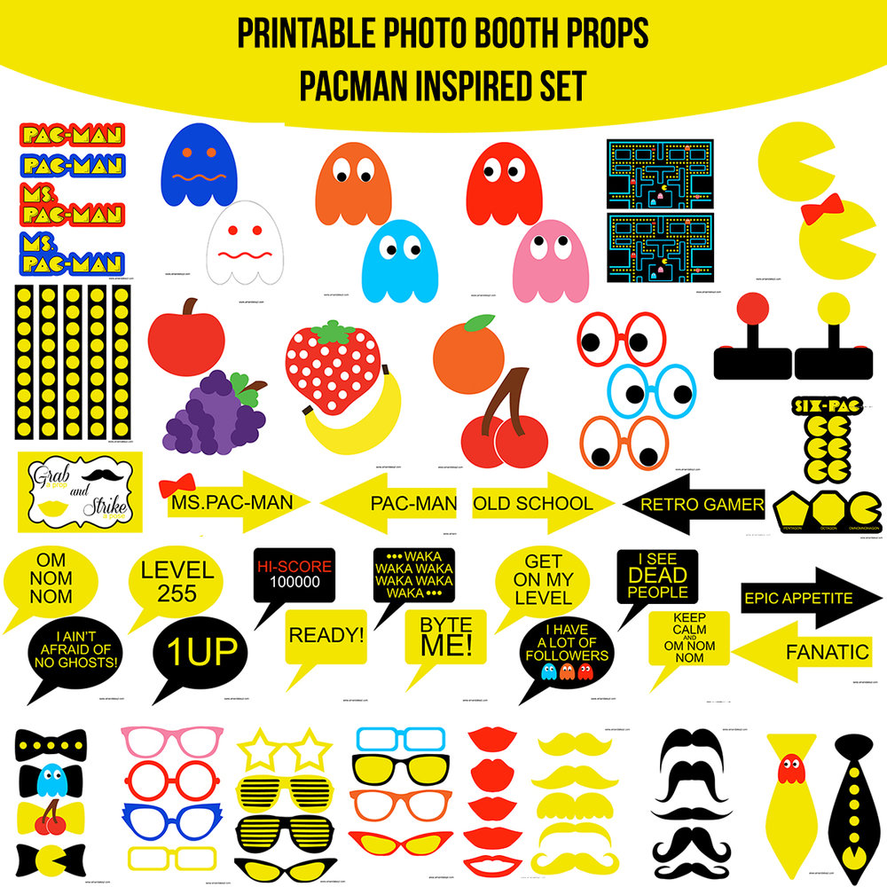 See the Set - To View The Whole Video Game Classic PacMan Pac-Man Inspired Printable Photo Booth Prop Set Click Here