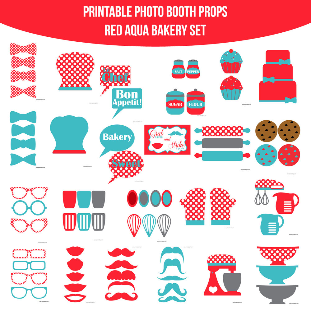 See the Set - To View The Whole Bakery Red Aqua Printable Photo Booth Prop Set Click Here