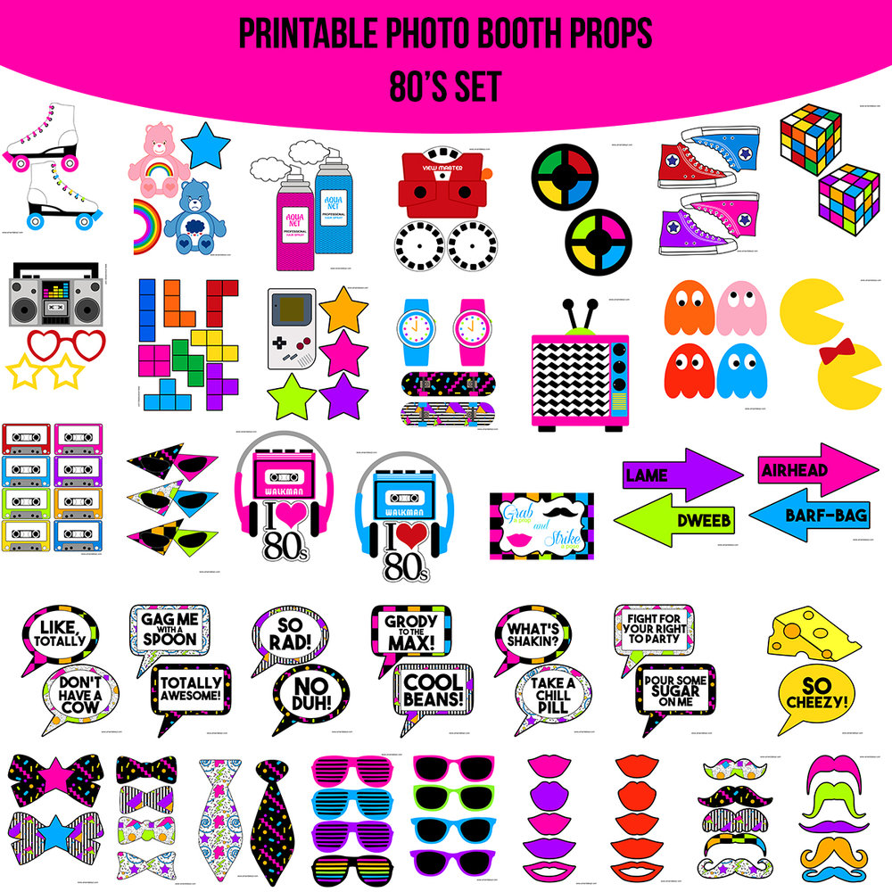 See the Set - To View The Whole 80's 80s Printable Photo Booth Prop Set Click Here