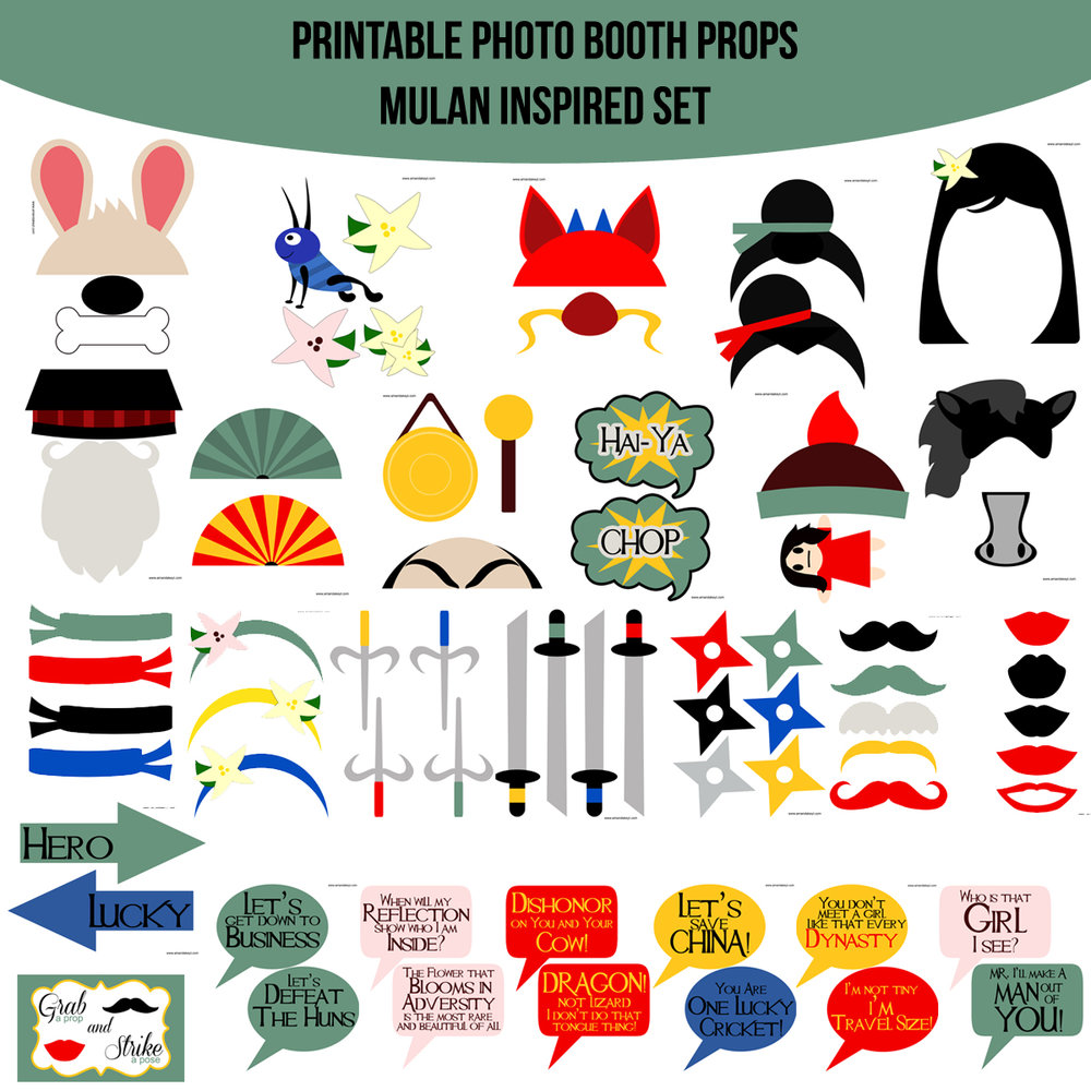 See the Set - To View The Whole Mulan Inspired Printable Photo Booth Prop Set Click Here