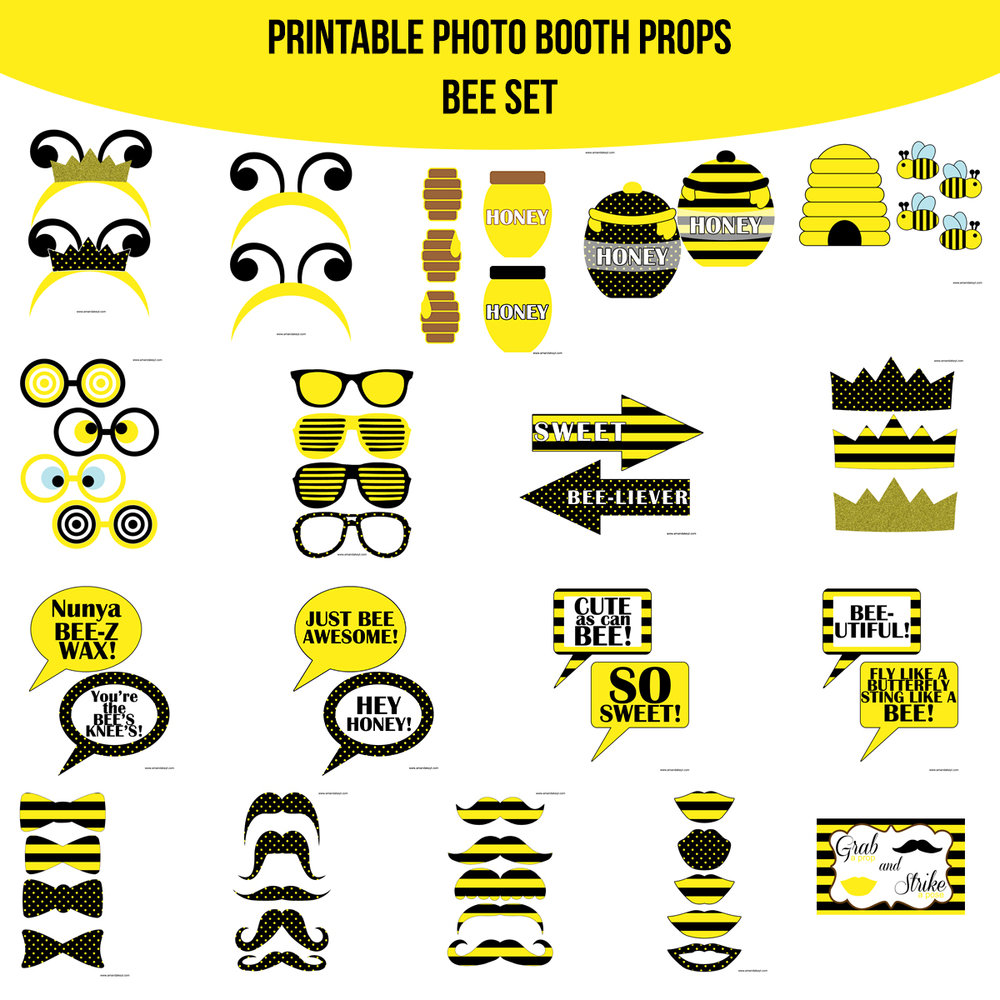 See the Set - To View The Whole Bee First Birthday Printable Photo Booth Prop Set Click Here