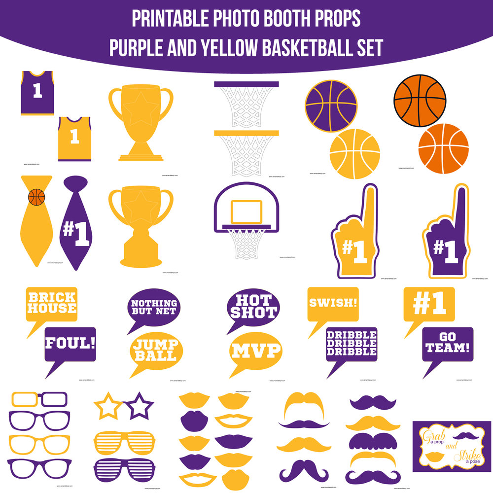 See the Set - To View The Whole Basketball Purple Yellow Printable Photo Booth Prop Set Click Here