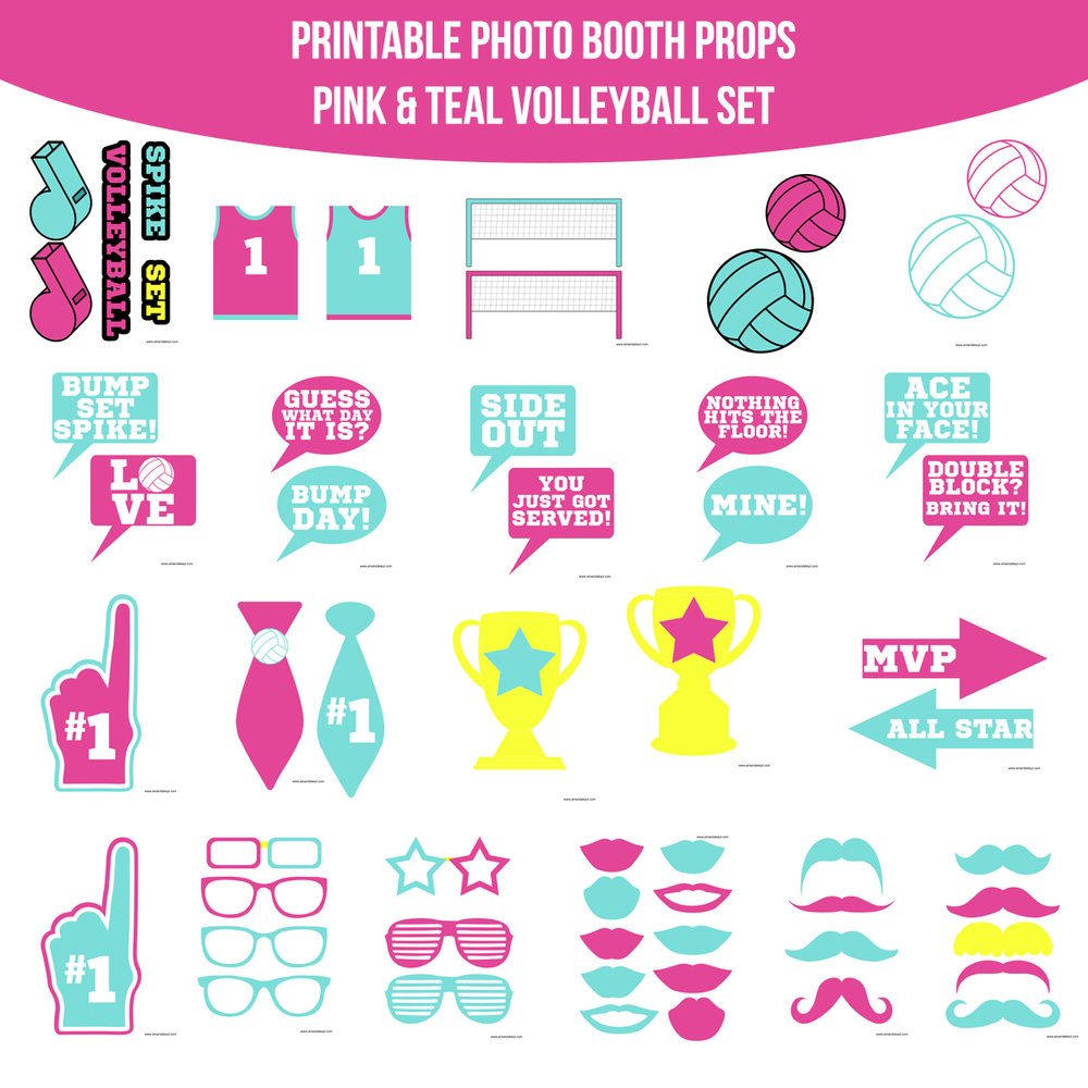 See the Set - To View The Whole Volleyball Pink & Teal Printable Photo Booth Prop Set Click Here