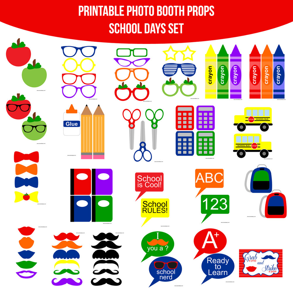See the Set - To View The Whole School Days Printable Photo Booth Prop Set Click Here