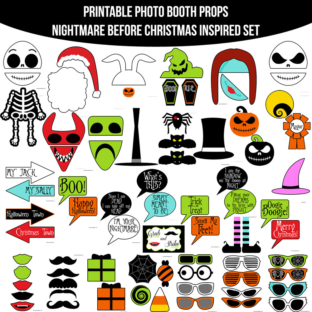 See the Set - To View The Whole Nightmare Before Christmas Inspired Printable Photo Booth Prop Set Click Here