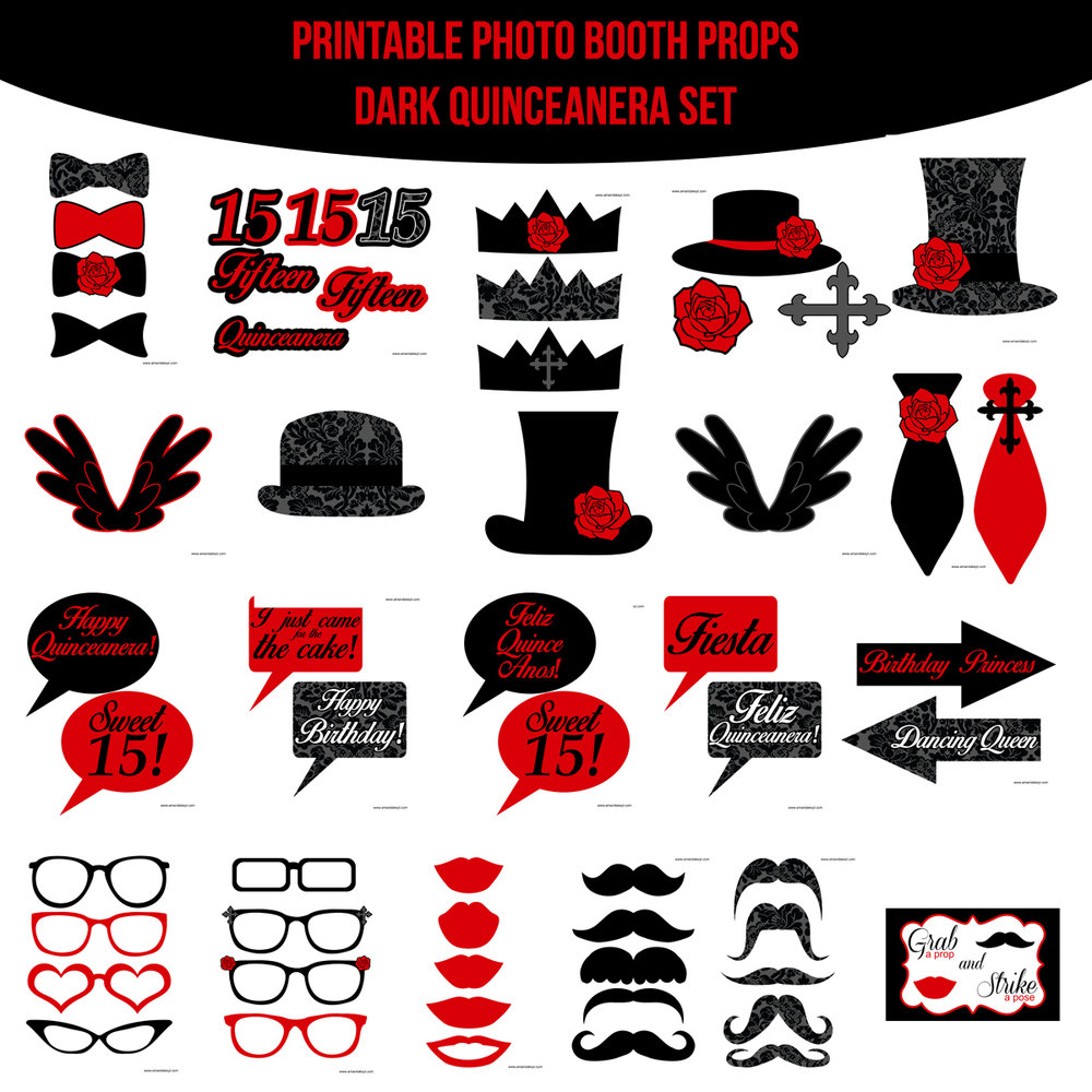 See the Set - To View The Whole Quinceanera Dark Printable Photo Booth Prop Set Click Here