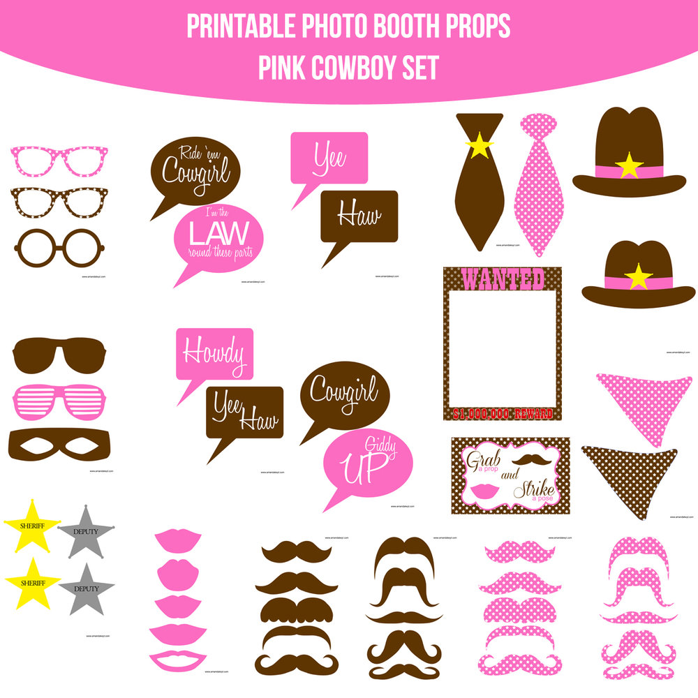 See the Set - To View The Whole Cowboy Pink Printable Photo Booth Prop Set Click Here