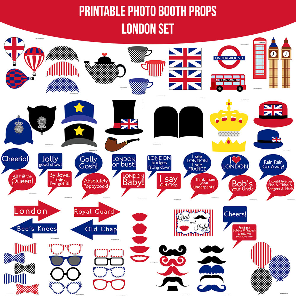 See the Set - To View The Whole London England Printable Photo Booth Prop Set Click Here