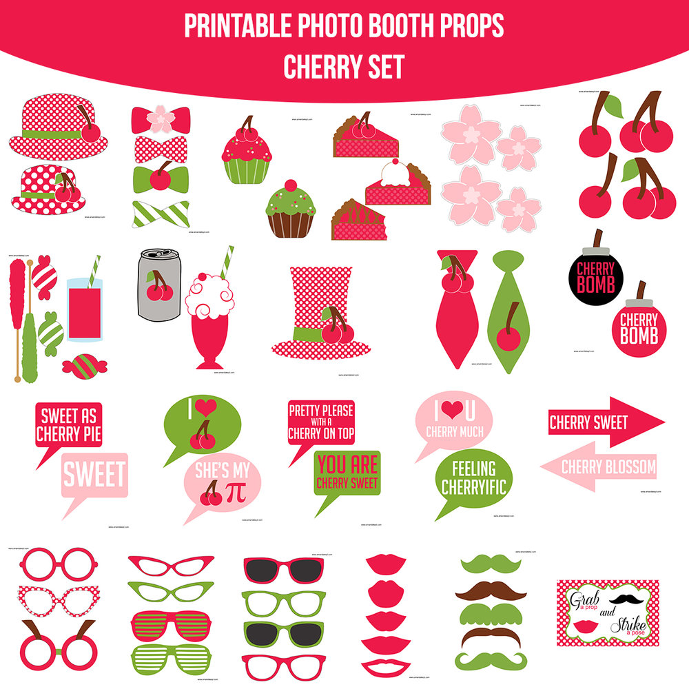 See the Set - To View The Whole Cherry Printable Photo Booth Prop Set Click Here
