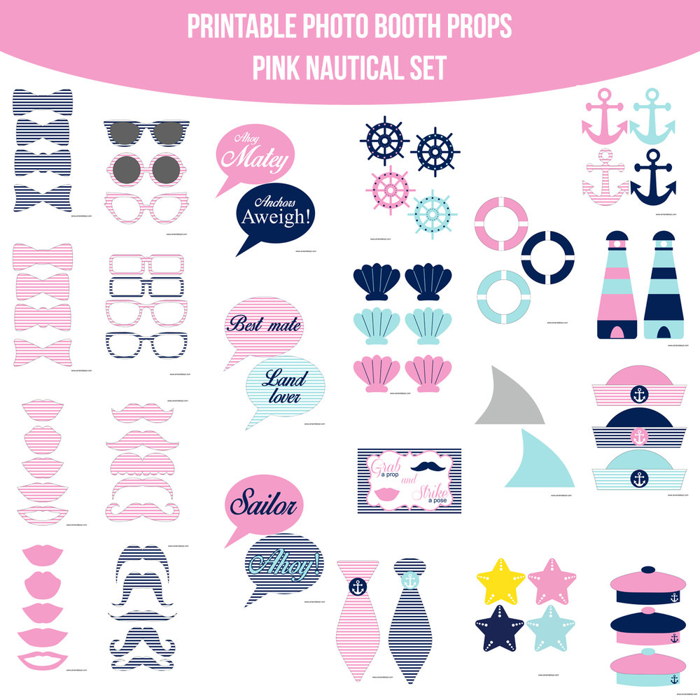 See the Set - To View The Whole Nautical Pink Printable Photo Booth Prop Set Click Here