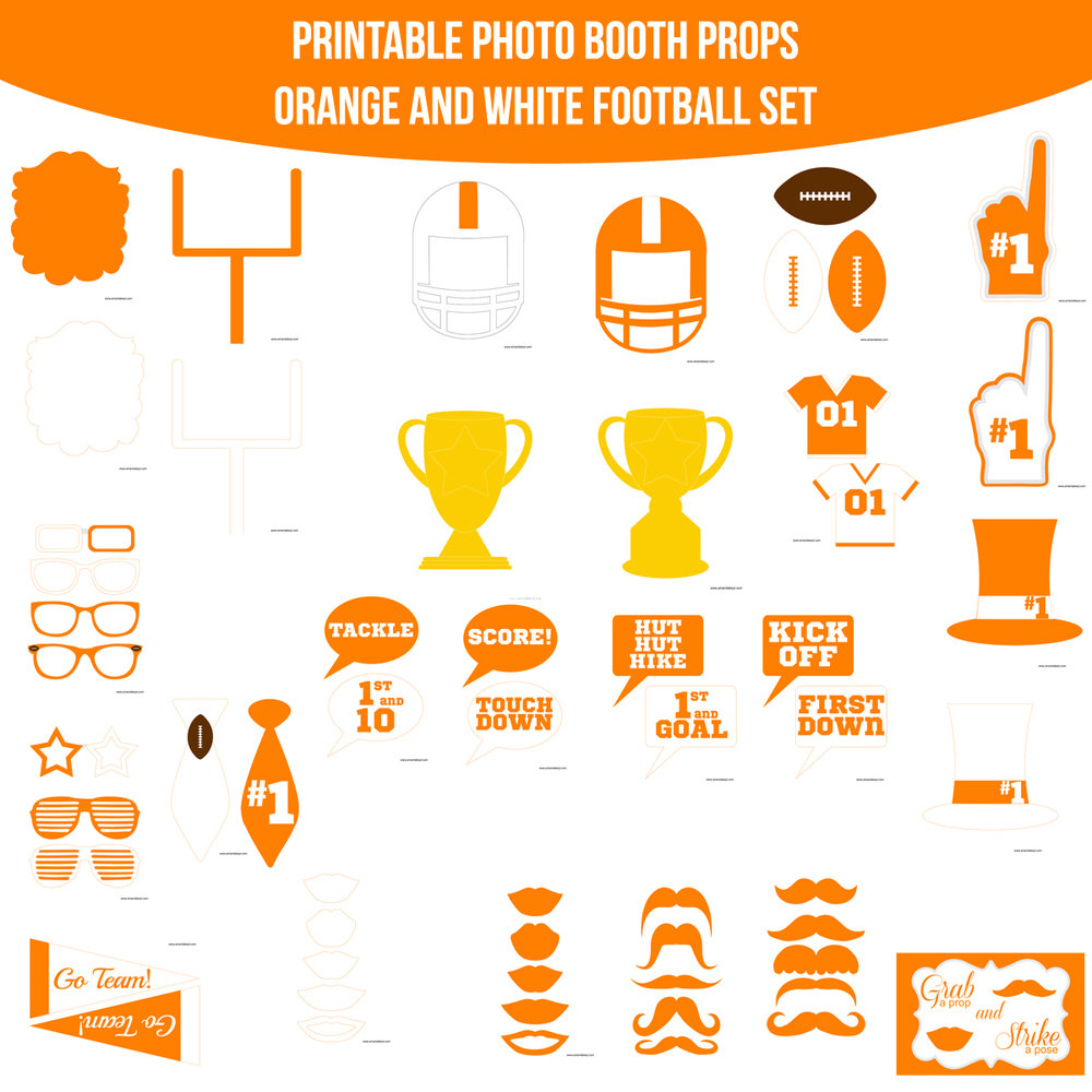 See the Set - To View The Whole Football Orange White Printable Photo Booth Prop Set Click Here