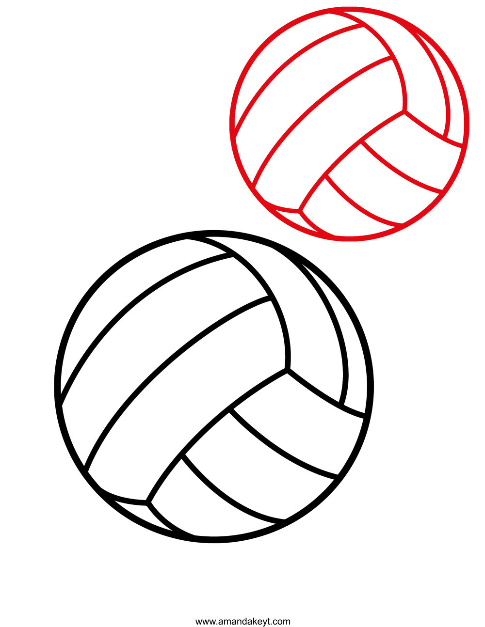 Black Red Volleyball