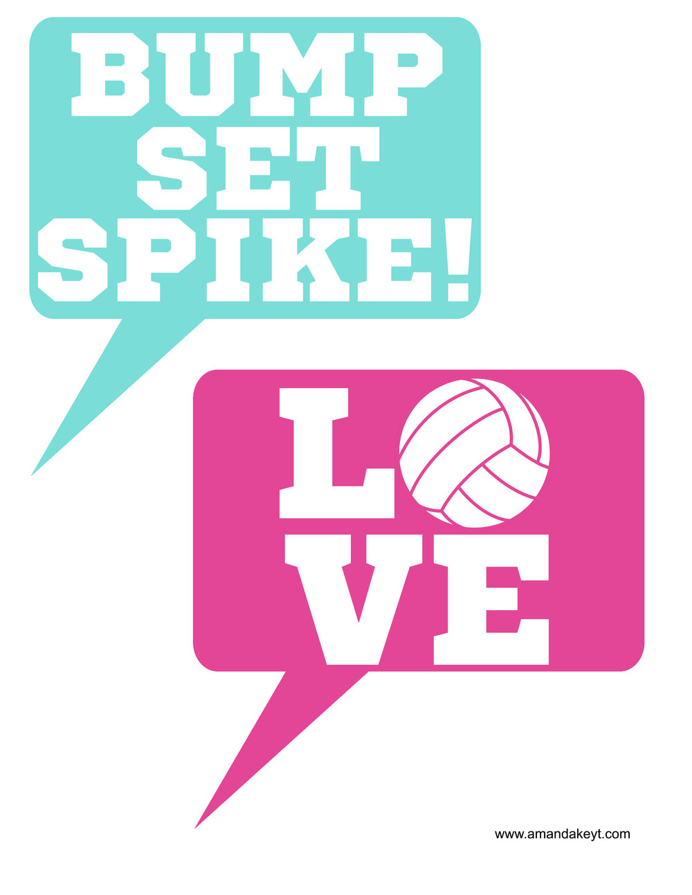 Pink Teal Volleyball