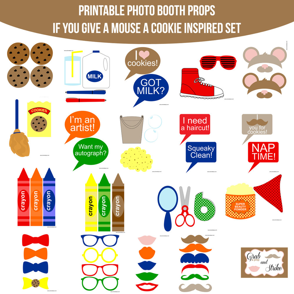 See the Set - To View The Whole If You Give A Mouse A Cookie Inspired Printable Photo Booth Prop Set Click Here