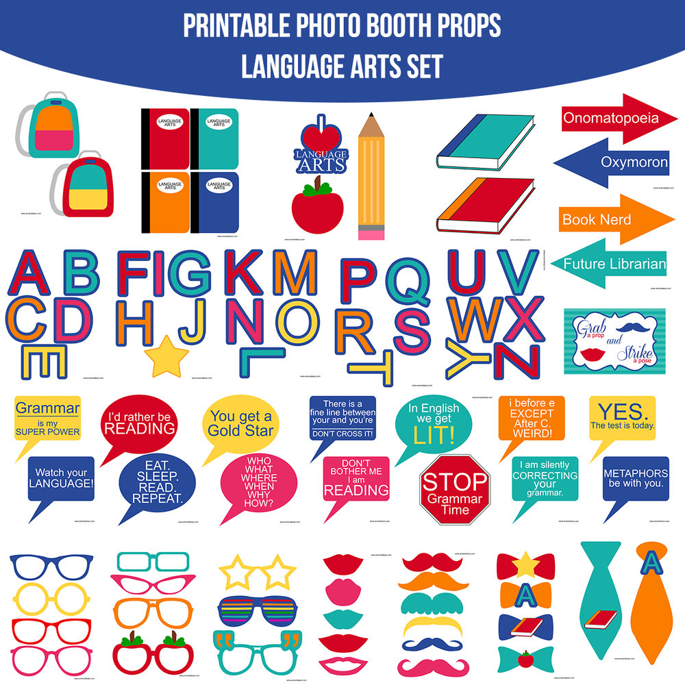 See the Set - To View The Whole Language Arts School Printable Photo Booth Prop Set Click Here