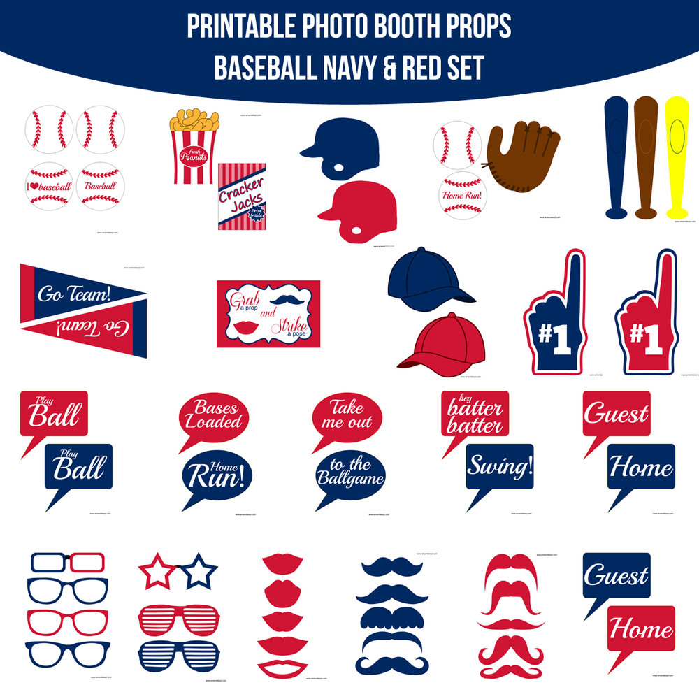 See the Set - To View The Whole Baseball Navy & Red Printable Photo Booth Prop Set Click Here