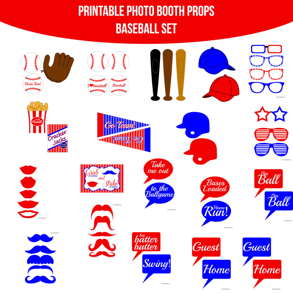 See the Set - To View The Whole Baseball Printable Photo Booth Prop Set Click Here