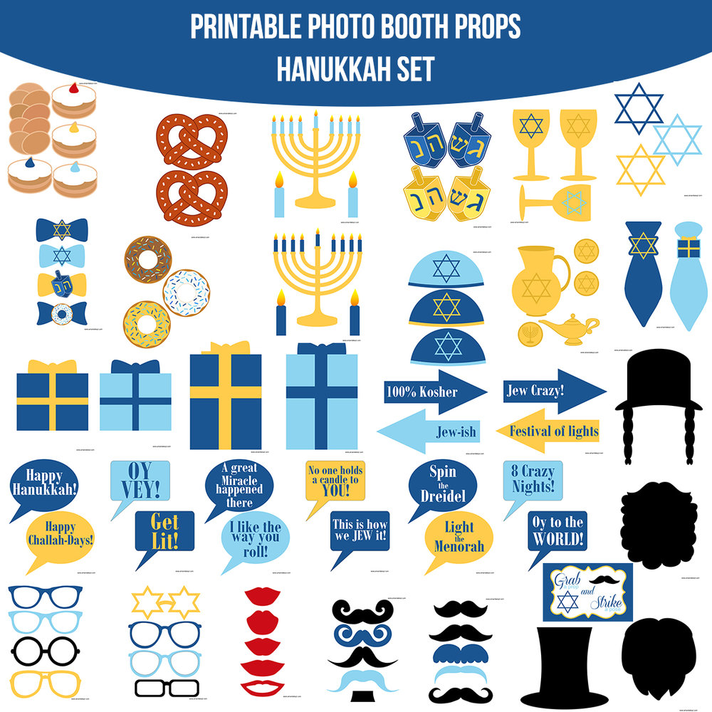 See the Set - To View The Whole Hanukkah Printable Photo Booth Prop Set Click Here