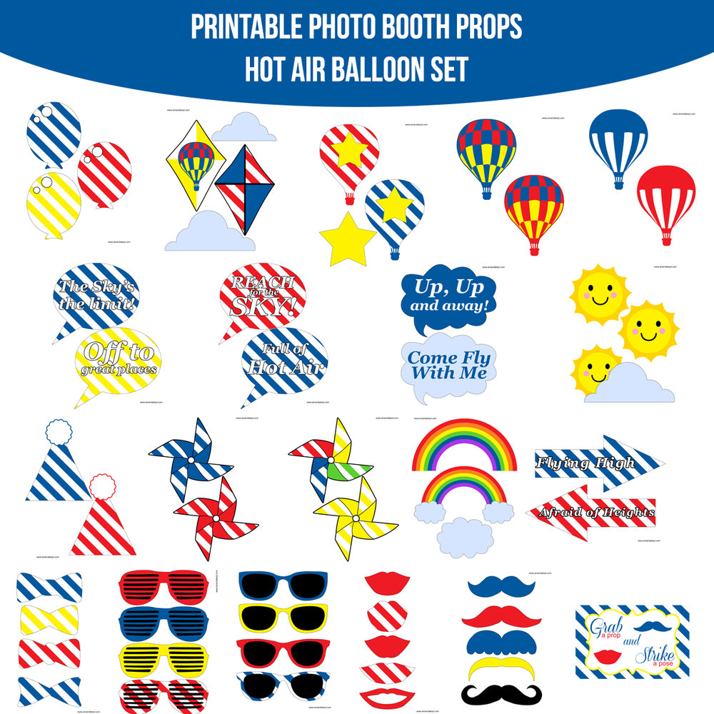 See the Set - To View The Whole Hot Air Balloon Printable Photo Booth Prop Set Click Here