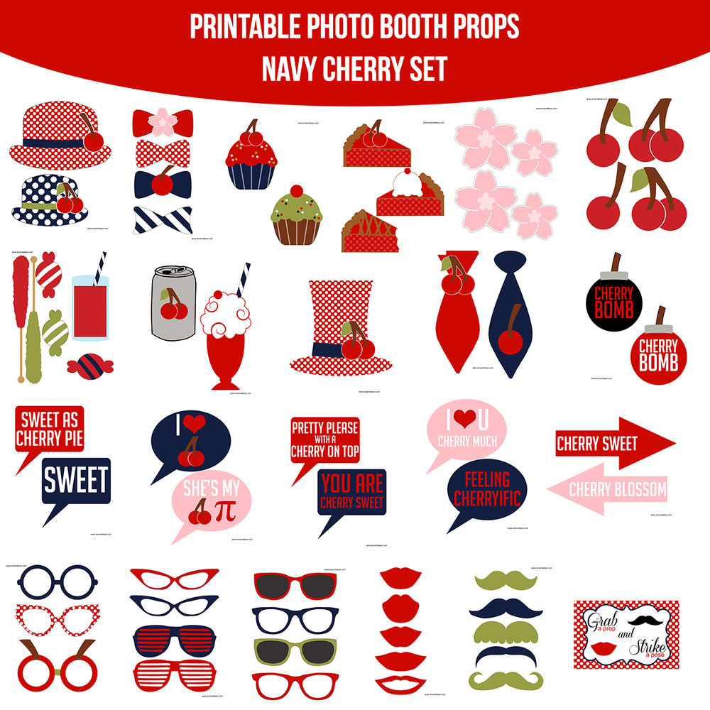 See the Set - To View The Whole Navy Cherry Printable Photo Booth Prop Set Click Here