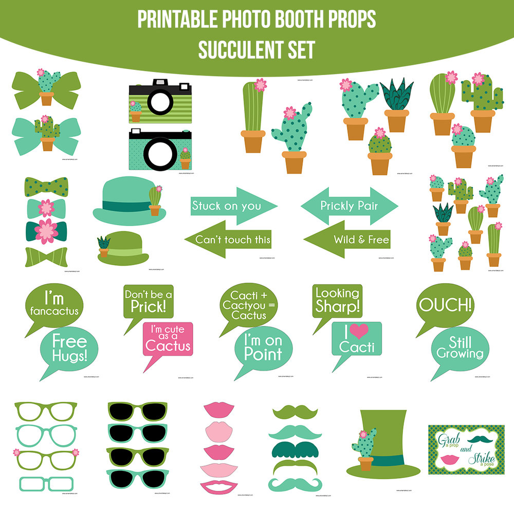 See the Set - To View The Whole Succulent Printable Photo Booth Prop Set Click Here