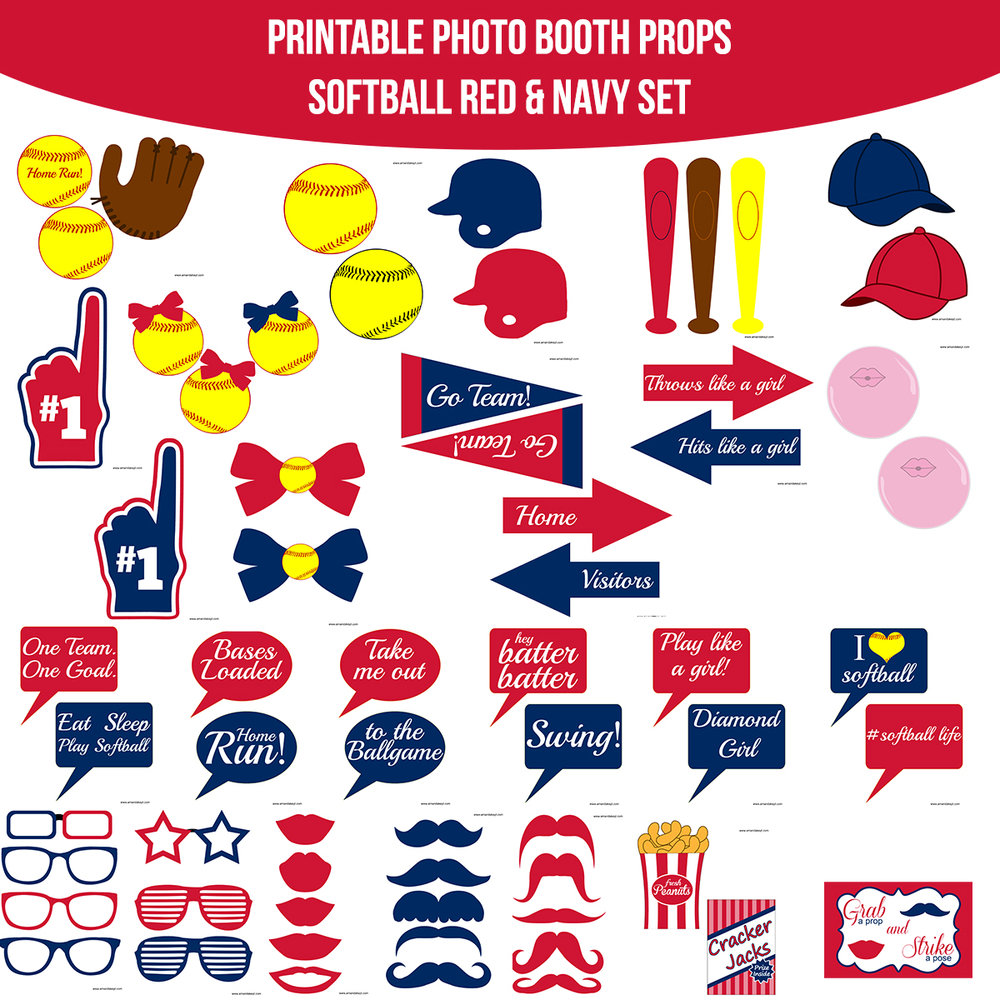 See the Set - To View The Whole Softball Red & Navy Printable Photo Booth Prop Set Click Here