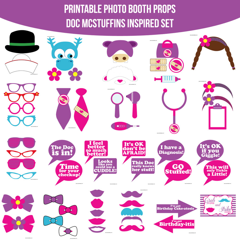 See the Set - To View The Whole Doc McStuffins Inspired Printable Photo Booth Prop Set Click Here