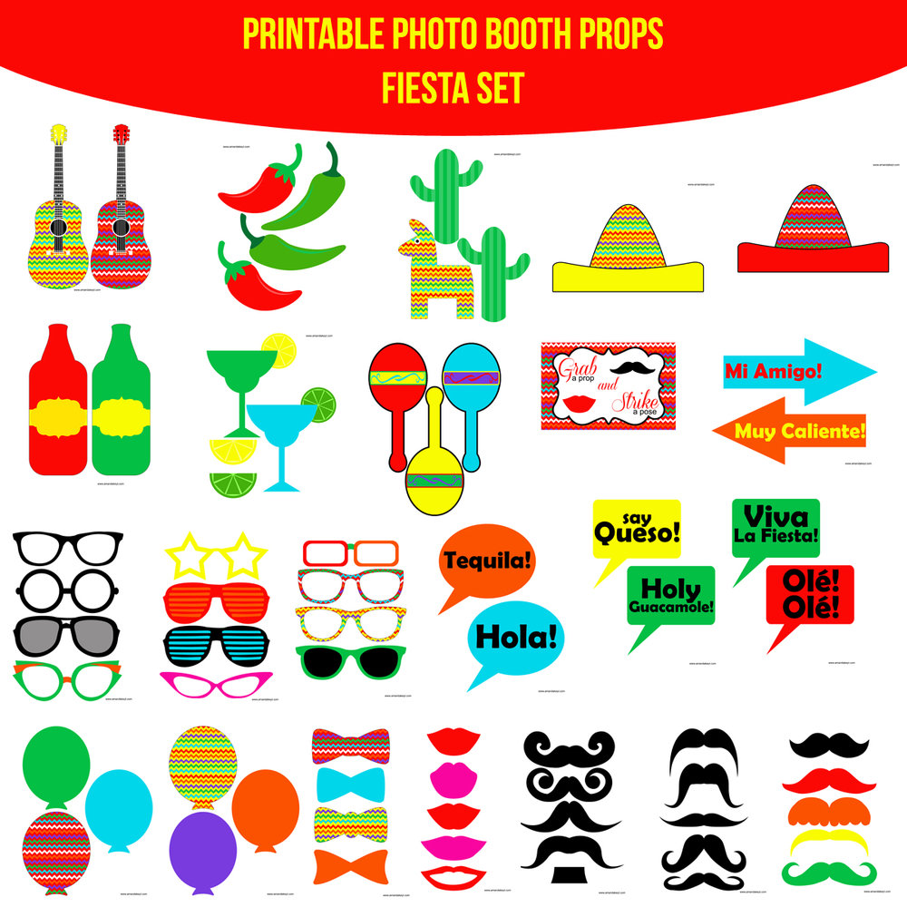 See the Set - To View The Whole Fiesta Printable Photo Booth Prop Set Click Here