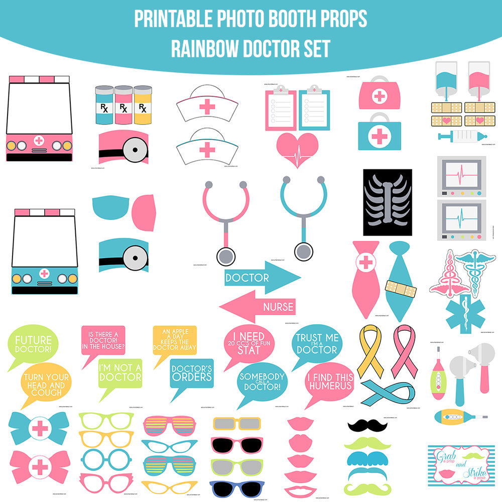 See the Set - To View The Whole Rainbow Doctor Printable Photo Booth Prop Set Click Here