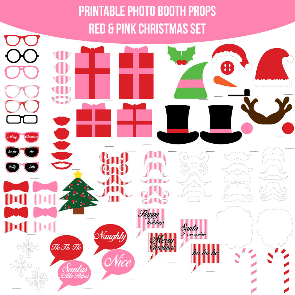 See the Set - To View The Whole Christmas Pink Printable Photo Booth Prop Set Click Here