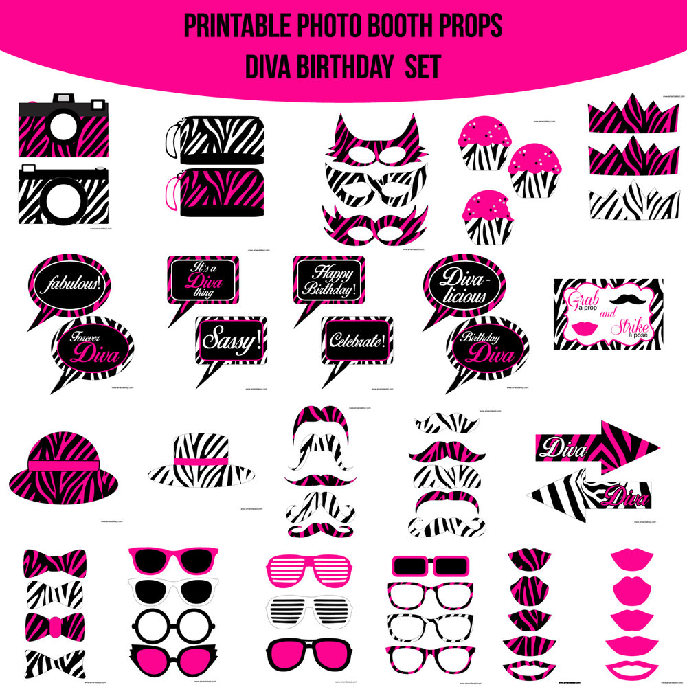 See the Set - To View The Whole Diva Birthday Printable Photo Booth Prop Set Click Here