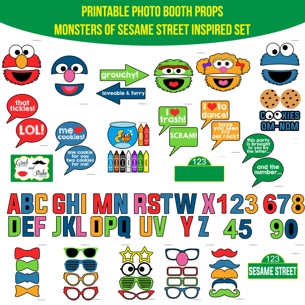 See the Set - To View The Whole Monsters of Sesame Street Inspired Printable Photo Booth Prop Set Click Here