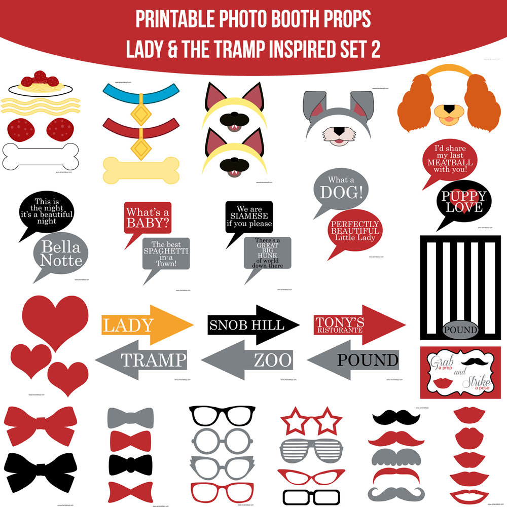 See the Set - To View The Whole Lady & Lady and The Tramp Inspired Printable Photo Booth Prop Set 2 Click Here