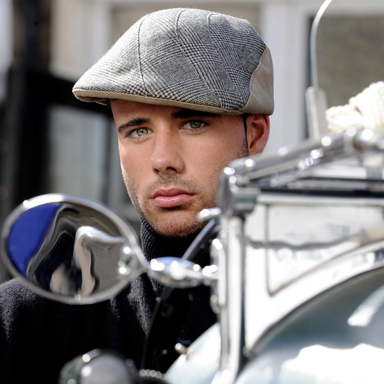cd7d28b39fcc3 Wool Cashmere Flat Cap for Men -  Lucas  in camel black check with camel  cotton drill