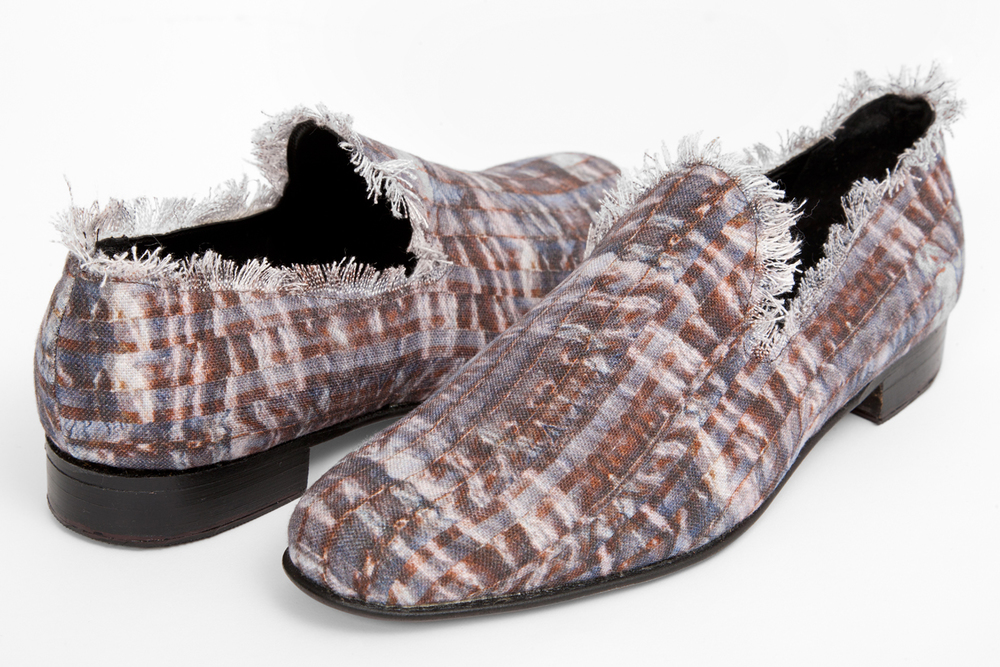 Winker shoes in linen by Pinaki Editions - currently in development