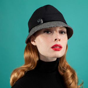 52ab065cade Women s Wool Cloche Hat -  Sarah  in black with black white birds-