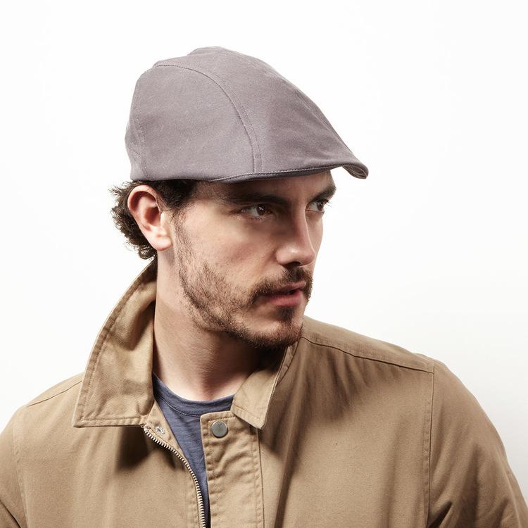 8ed38834820 Wax Cotton Flat Cap for Men -  Clive  in warm grey — Karen Henriksen