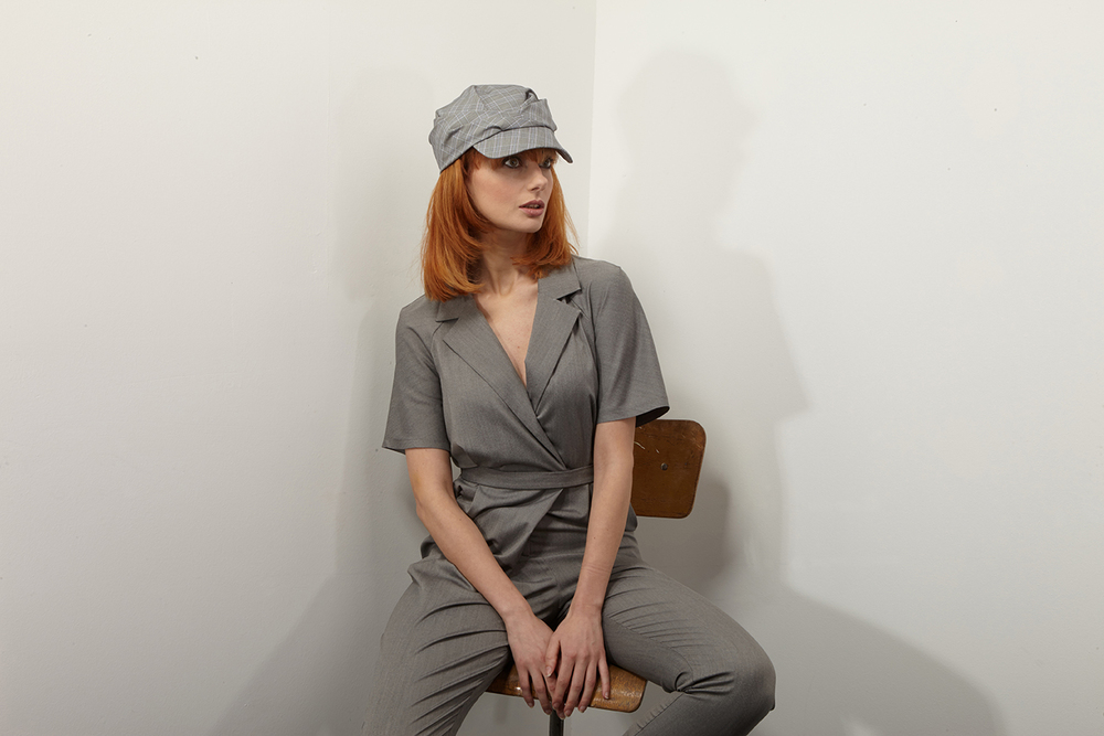 'Drew' Peaked Cap In Cotton Check Poplin