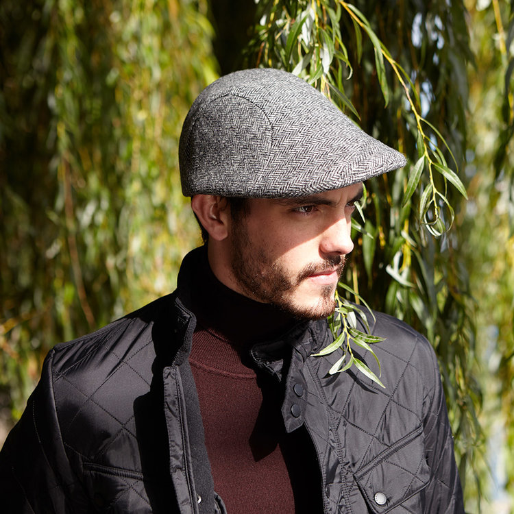 Men s Wool Tweed Flat Cap -  Windswept Flat Cap  in Grey Herringbone ... 183dab4d59d5