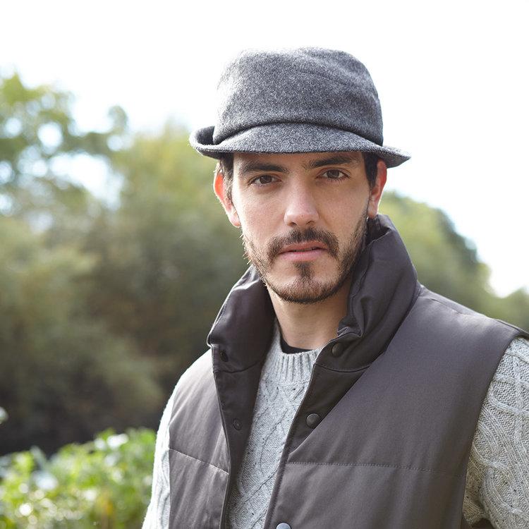 Wool Tweed Men s Trilby Hat -  Hector  in Charcoal - By Karen Henriksen 200a71f6022