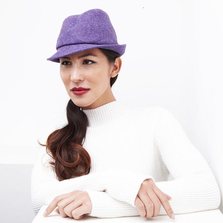 Wool Tweed Women s Trilby Hat -  Garbo  in purple by Karen Henriksen b537c68868b
