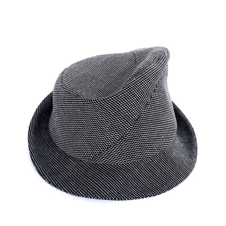 Cotton Trilby Hat for Men -  Sedley  in navy white herringbone ... 685f54f72da1