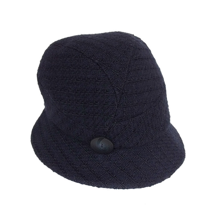 Women s Winter Wool Tweed Cloche Hat -  Sarah  in navy by Karen Henriksen 67ee3d90fba