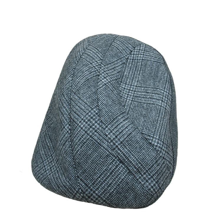 2983455242ba2 Wool Cashmere Flat Cap for Men -  Lucas  in blue grey check with grey wool
