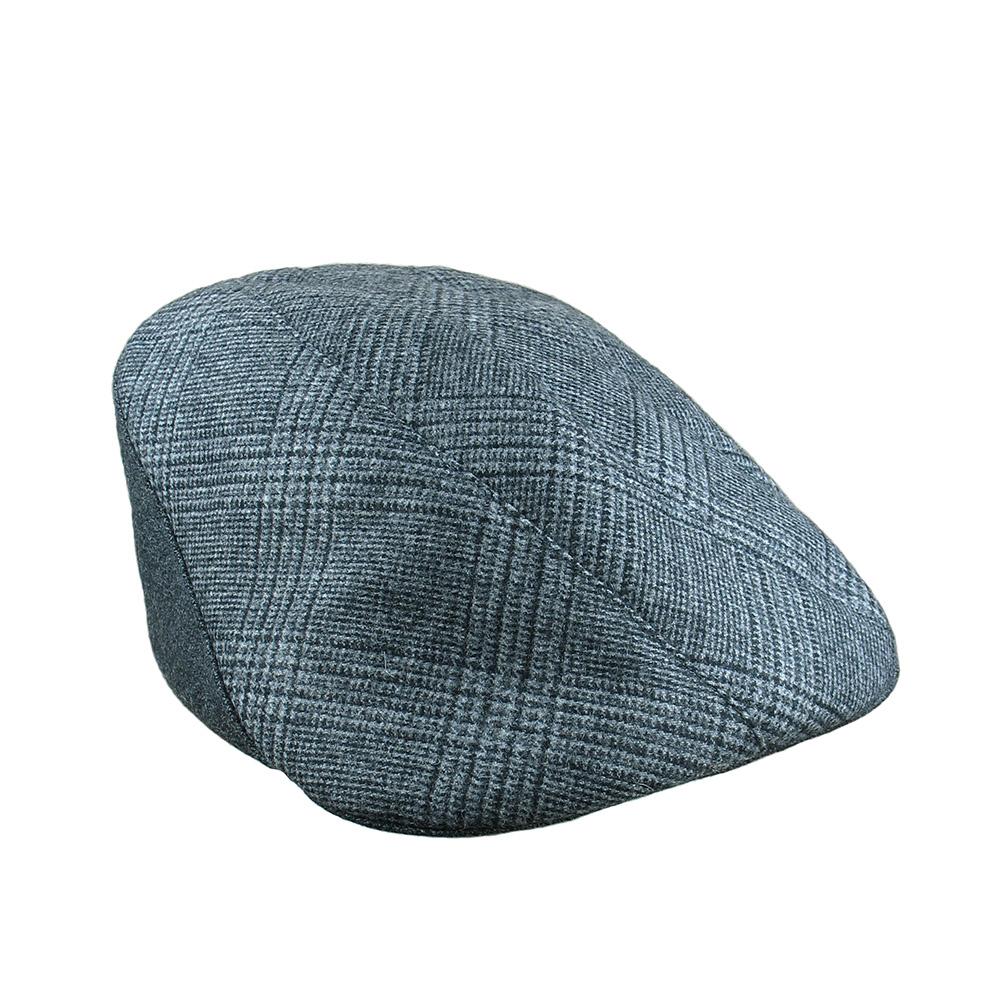eb6e171657832 Wool Cashmere Flat Cap for Men -  Lucas  in blue grey check with grey wool  — Karen Henriksen