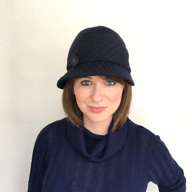 ede457e9cc7 Winter Wool Tweed Cloche Hat -  Sarah  in navy — Karen Henriksen