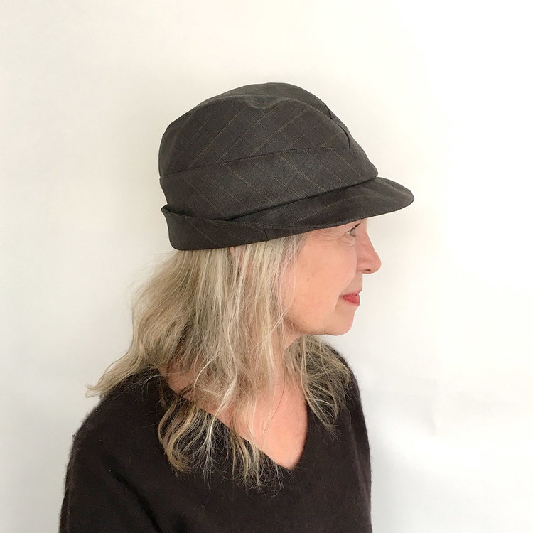 332db8b1e3868 Lightweight Wool Suiting Women s Trilby Hat -  Garbo  in soft greyish brown  stripe