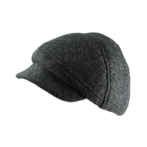 5608311f Tweed Baker-Boy style Cap for Men - 'Clyde' in Charcoal - By